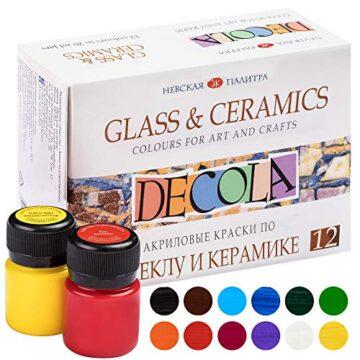 Decola Set Pinturas Acrilicas manualidades | 12x20ml Pintura Para Ceramica Y Vidrio | Alta Cobertura También Sobre Superficies Obscuras | Hechas Por Neva Palette
