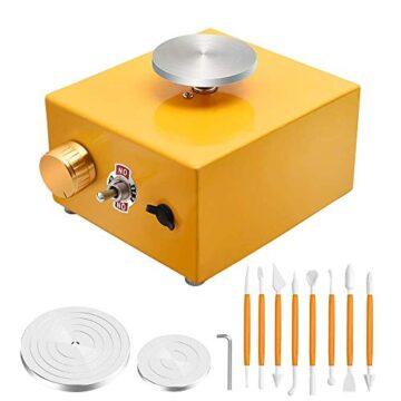 InLoveArts Mini Rueda de Cerámica 6.5 cm y 10 cm Máquina de Cerámica Eléctrica para Trabajos en Arcilla